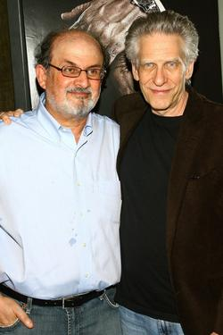 David Cronenberg and Salman Rushdie at after party for the screening of &quot;Eastern Promises&quot;.